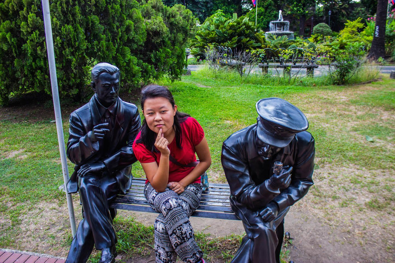 Julie sitting at Fort Santiago, Manila, Philippines